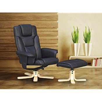 Boston Recliner Chair and Footstool - Black or Brown - Faux Leather and Wood (Black  sc 1 st  Amazon UK & Boston Recliner Chair and Footstool - Black or Brown - Faux ... islam-shia.org