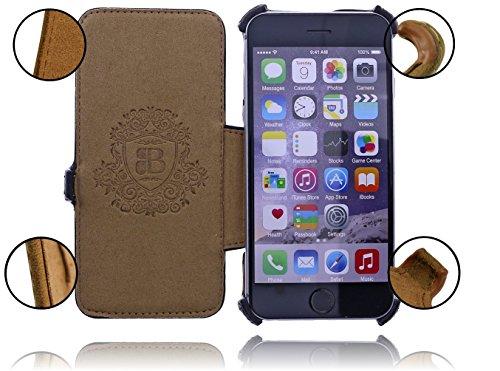 burkley Étui en cuir pour le Apple iPhone 6/6S dans 4.7Flip Case Coque avec compartiment carte de crédit et fermeture magnétique en cuir de vache véritable Style vintage Noir