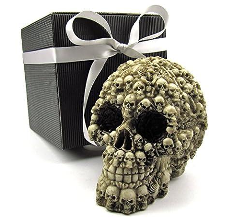 Deko-Totenkopf Schädel Skull Totenkopf-Skelett-Motiv im Geschenk-Set in schwarzer Geschenk-Box mit Schleifenband, Geschenk für Männer, Gothic, Mystik, Fantasy, Weihnachtsgeschenk, Party-Geschenk, Halloween