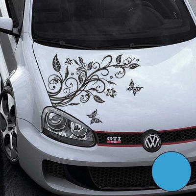 A456 Blumenranke Autoaufkleber + 3 Schmetterlinge 92cm x 60cm lichtblau (Farb-/Größenwahl)
