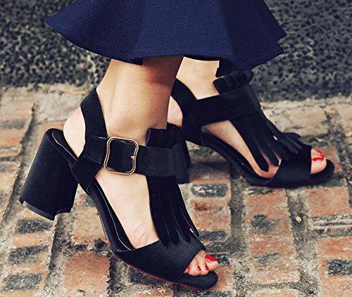 L&Y Pompa di punta di punta Stivaletto in pelle scamosciata con cinturino Sandali con tacco alto Slingback per le donne Nero