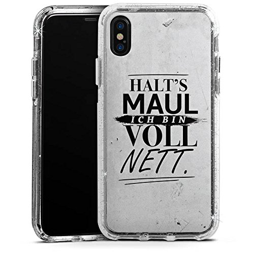 Apple iPhone 6 Bumper Hülle Bumper Case Glitzer Hülle Sayings Phrases Sprüche Bumper Case Glitzer silber