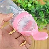 Babyflasche Babylöffel Löffelspender Breispender Babylöffel Löffelspender Trinkhilfe Besteck Kinder-Flasche Babybrei Fütterlöffel für unterwegs to go (rosa)