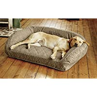 Orvis Memory Foam Bolster Dog Bed / Large Dogs Up To 60-90 Lbs., Brown Tweed,