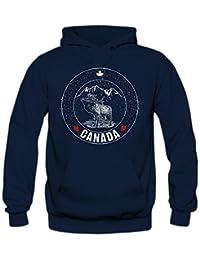 Canada Elch #3 Premium Hoodie Kanada Berge Ahornblatt Herren Kapuzenpullover