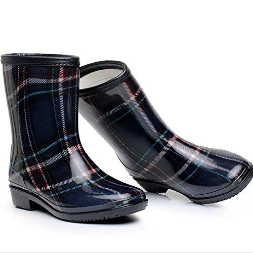 Winter Warm halten Frauen oder Mädchen Regenstiefel PVC Anti-Rutsch Mode Reitstiefel Black