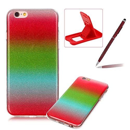 iPhone 6S Plus Hülle Weiches Silikon Glitzer Schutzhülle Tasche Case,iPhone 6 Plus Hochwertig Leicht Gummi Schutz Hoch Handyhüllen Schale Etui,Herzzer Modisch Luxus Silikon Bunt Hülle [Farbverlauf Gra Rot und Grün
