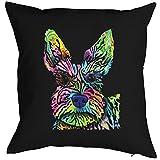 Lustiger Hund Hundekopf Motiv Kissen - Hundekissen Neon Farben : Stella Kissen mit Füllung Farbe: schwarz