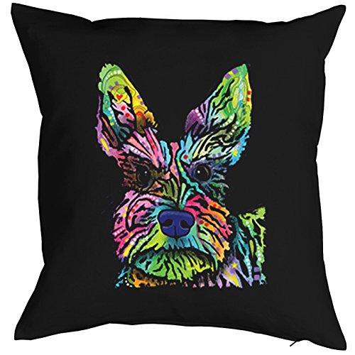 Trendy Kissenbezug mit ausgefallenem Neon Motiv: Scottish Terrier Stella -