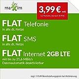 maXXim LTE 2000 Allnet Flat [SIM, Micro-SIM und Nano-SIM] 24 Monate Laufzeit (FLAT Internet 2 GB LTE mit max. 21,6 MBit/s mit deaktivierbarer Datenautomatik, FLAT Telefonie, FLAT SMS und FLAT EU-Ausland, 3,99 Euro/Monat in den ersten 12 Monaten, danach 9,99 Euro/Monat)