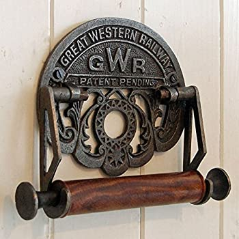 VICTORIAN STYLE TOILET ROLL HOLDER BLACK IRON ANTIQUE LOO RAILWAY NOVELTY RETRO