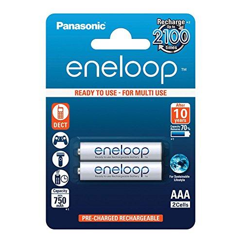Akku Panasonic Telefon (Panasonic eneloop, Ready-to-Use Ni-MH Akku, AAA Micro, 2er Pack, min. 750 mAh, 2100 Ladezyklen, geringe Selbstentladung)