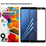 Annure® Full [Shatterproof] Edge To Edge Tempered Glass Screen Protector For Samsung Galaxy A8+ / A8 Plus - Black