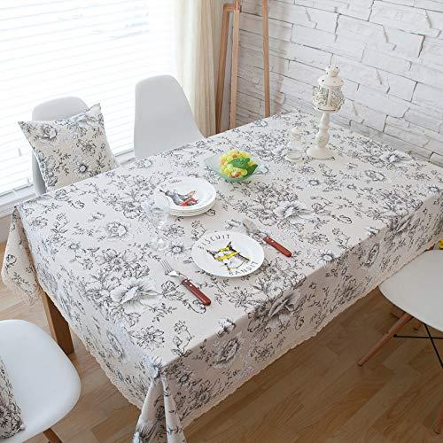 ZYT Waschbar, schmutzabweisend, pflegeleicht, hochwertig,Weiße Pfingstrose Baumwolle Leinen Tischdecke/Tischdecke Retro-Muster schwarz große Blume Leinen 40 * 60cm