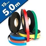 Magnetband Kennzeichnungsband farbig, Breite 15mm - 5m Rolle - Magnetstreifen - Zum Beschriften und Markieren, von Lager, Werkstatt, für Whiteboards, Flipcharts, Präsentationen, Farbe:weiss
