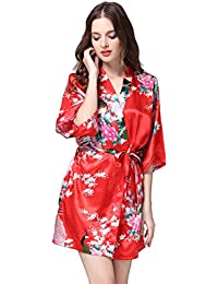 e42c74cf5a Daiwenwo Women Bath Robe Summer Faux Silk Floral Lady Bathrobe Female  Nightwear Sleep Kimono WP065