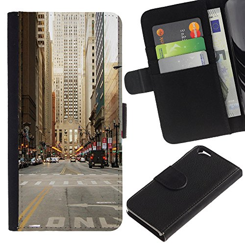 Graphic4You New York City Tilt Shift Postkarte Ansichtskarte Design Brieftasche Leder Hülle Case Schutzhülle für Apple iPhone 6 / 6S Design #6