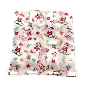 Santa Claus with Presents Ladies Christmas Scarf White