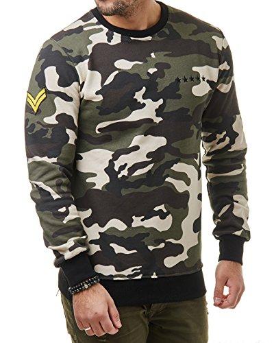 EightyFive Herren Camouflage Sweater Camo Sweatshirt Schwarz Grün EFY5