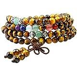 Shanxing 108 Perlen Edelstein Yoga Armband Schmuck Buddha Buddhistische Tibetische Gebetskette Mala Kette Halskette,Tigerauge & 7 Chakra Perlen
