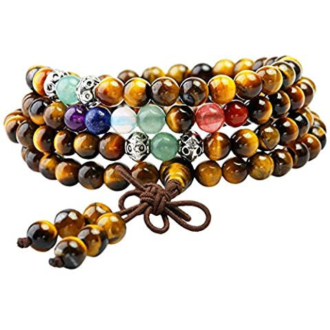 Shanxing 108 Prayer Beads Mala Bracelet Tibetan Buddhist Buddha Meditation Stone Necklace,Tiger's Eye & 7 Chakra Beads