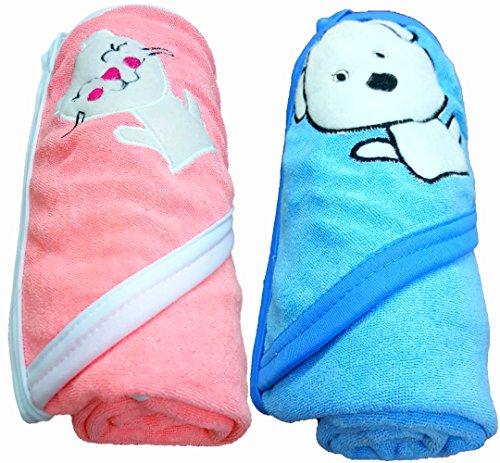 BRANDONN 2PCS QUICK DRY DOUBLE PLY CARTOON HOODED BABY BATH TOWEL(PINK-BLUE)