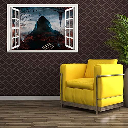 LIZHIOO Wandaufkleber Kreative Stereo 3D Gefälschte Fenster Wandaufkleber Halloween Tod Advent Wohnzimmer Schlafzimmer Dekoration