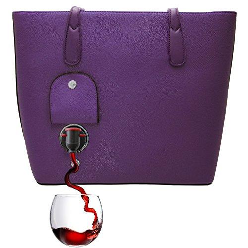 PortoVino Wein Handtasche (Lila) - Für 2 Flaschen Wein auf dem Weg - Lila Designer-handtasche