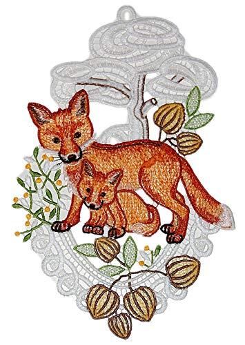 Plauener Spitze Fensterbild 18x28 +Saugnapf Fuchs Baby Wald Fensterschmuck Deko Herbst Halloween