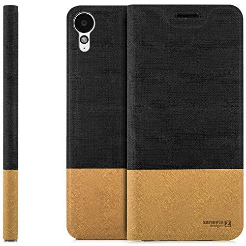 zanasta Designs Tasche HTC Desire 825 Hülle Flip Case Slim Schutzhülle Handytasche mit Kartenfach, Standfunktion | Schwarz