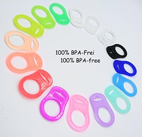 Silikonring (Adapter) für Schnuller - Schnullerhalter für Baby Schnullerketten aus weichem Silikon - 100{cbd7677b4232189bd7976eec25886de4b8d25d7a330e58cfc5f15934d30b126f} BPA-frei (Leuchtend)