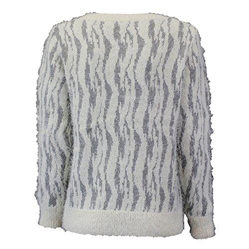 femmes pull mohair Brave Soul femme tricot diamant collier duveteux hiver gris / crème - 49lake