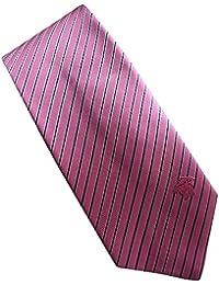 Versace Made In Italy Pink Stripe 100% Silk Men's Tie