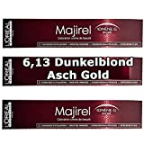 3x L'Oréal Majirel 6,13Blond Foncé Cendré Doré Crème Couleur des cheveux-50ml