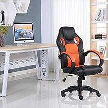 Marca nueva diseñado piel deporte Racing silla de oficina escritorio Gaming ordenador, color naranja