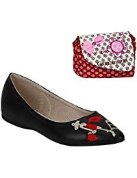 Etashee Leather Black Embellished Flat Casual Belly Shoes With Red Printed Sling Bag For Women