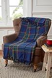 Tartan Karomuster Design Überwurf Decke für Sofa/Stuhl/Bett, Baumwolle, Blau