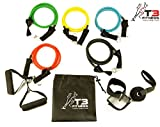 T3 Fitness Natural Latex 11pc Set of Durable Resistance Exercise Bands, 5 Resistance Bands, 2x Foam Handles, Heavy Duty Door Anchor, 2x Ankle Straps, Ideal For Home Gym Fitness, Yoga, Pilates, Abs, P90x & Crossfit