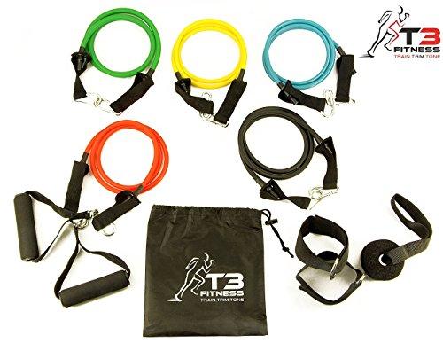 40% stärker natur Latex 11-teiliges Set stabiler Widerstand Übungsbänder & # x25cf; Wird mit 5Widerstand Bands, 2x Schaumstoff-Griffe, schwere Pflicht Tür Anker, 2X Ankle Straps & # x25cf; ideal für Home Gym Fitness, Yoga, Pilates, ABS, P90x & Crossfit & # x25cf; Gratis Workout Guide und Aufbewahrungstasche & # x25cf; Made by T3Fitness UK
