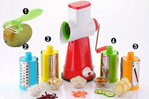 HKC HOUSE Plastic 5in1 Vegetable Drum Grater Shredder Slicer with 4 Attractive Drums (Multicolour)