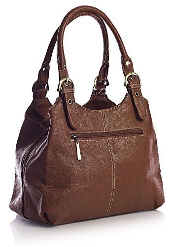 Big Handbag Shop, Borsa a mano donna Marrone (Dunkel Tan)