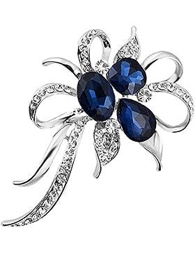Joyfulshine Frauen Blumenstrauß Kristall Brosche BlumeCorsage 925 Sterling Silber