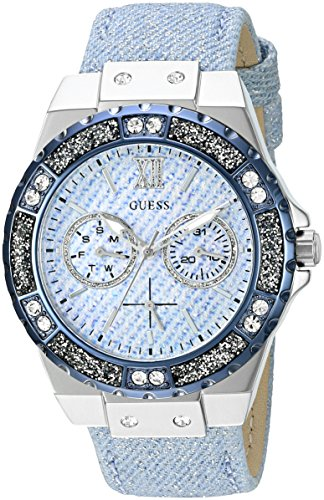 GUESS Women's U0775L1 Iconic Sky Blue Denim Multi-Function Watch