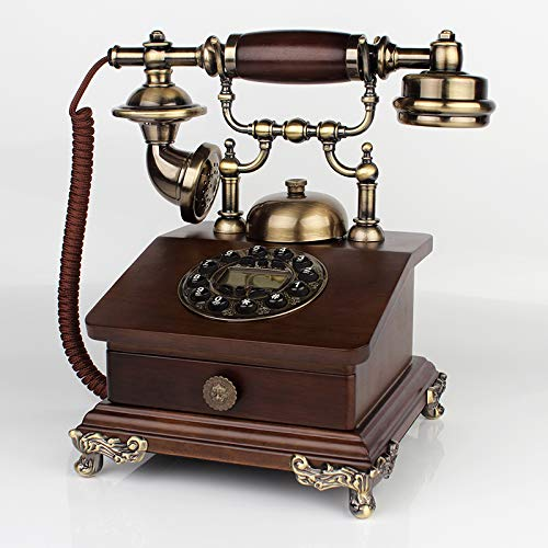 Telefon Retro Telefon Telefon Schnurgebundeneuropäische Massivholz Metall Haushalt Wohnzimmer Haushaltsmaschine Dual-Halterung (Hand-Free Backlight Plate) Mechanische Un Telefon Wall Plate