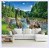 BHXINGMU Benutzerdefinierte Fototapete 3D Große WandbilderDinosaurier Wohnzimmer Schlafsofa SchlafzimmerTuch Tapete 250Cm(H)×360Cm(W)