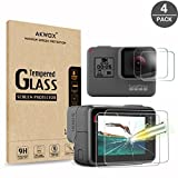 (Pack of 4) Tempered Glass Screen Protector for GoPro Hero 6 Black/GoPro Hero 5 Black (Screen and Lens), Akwox 0.3mm 9H Hard Scratch Resistant Screen Protective Glass Film