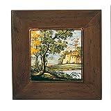 Fliese 15x 15mit Rahmen aus Holz–Keramik Kunstdruck von Castelli handgefertigt und handbemalt