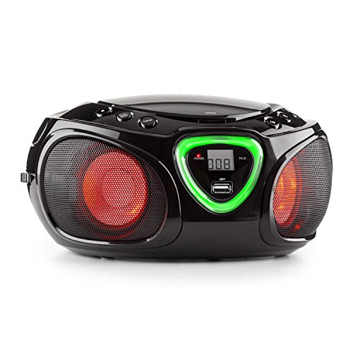 auna Roadie Ghettoblaster Boombox (CD-Player, USB-Port, MP3, Radio, Bluetooth 2.1, LED) schwarz