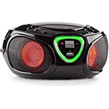 auna Roadie boombox compatta radio portatile stereo con lettore CD (dispositivo bluetooth, ingresso USB MP3, radio OM/OUC, effetti LED) -