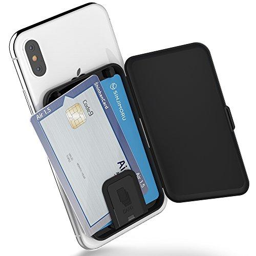 SINJIMORU Smartphone Kartenetui, Kartenhalter/Kartenfach fürs Handy/Kreditkartenetui/Visitenkartenetui/Smart Wallet/Handy Kartenhalter/Handy Geldbeutel. Sinji Card Zip, Schwarz.